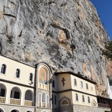 The monastery was built in the cliff, utilizing the natural caves as the interior.