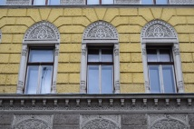 Beautiful decorative accents over windows in buildings built in the Austro-Hungarian period. These survived the siege.