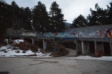 The remains of the Olympic bobsled run. This has become an iconic part of Sarajevo.
