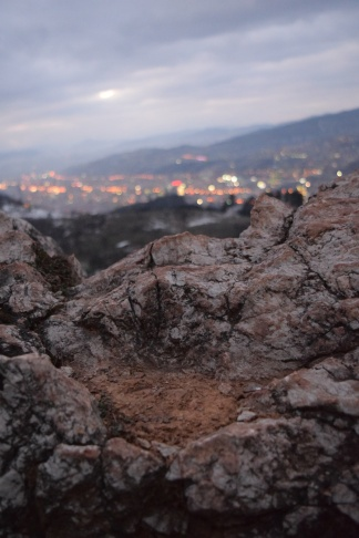 As I put my elbows on this rock to take a photo of the city below, I couldn't help but wonder if a sniper had done the exact same thing.