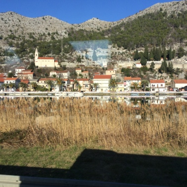 On our way from Split to Dubrovnik.