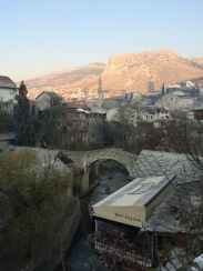 The Old Town of Mostar from the Croat side.