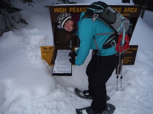 We had a lot of snow that year.  The trail register is usually chest height.