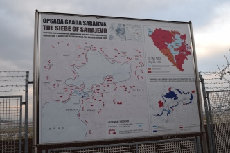 This is the map of the siege. Obviously, the centre is Sarajevo and all the red is the aggressor's positions. The UN-held airport can be seen in blue in the bottom left.