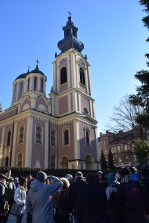 We had a massive tour group today. This was one of our stops in Liberation Square by the Serbian Cathedral.