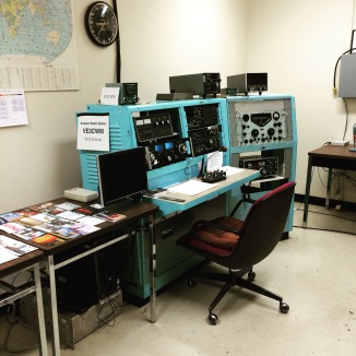The ham radio station as it was when in use. These rooms (there are two of them) are still in use by Ottawa's Amateur Radio Club.
