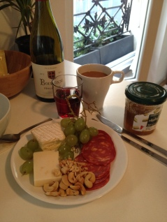 A typical breakfast for us, bought from the market. (ahem...yes, that is wine. But it's Paris so I'm allowed wine for breakfast.)