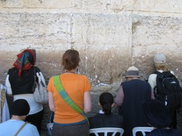 Saying a prayer at the Western Wall.