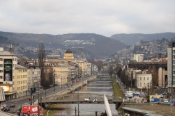 Sarajevo is famous for its bridges and Gorcin's place had a great view of them.