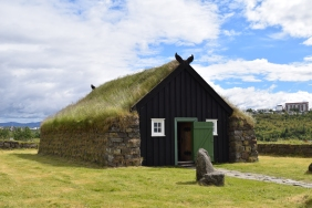 The church. This is the traditional way Icelandic houses were made because they had a lack of trees for lumber. Stone and turf walls, turf roofs and wood on the inside. They were low-ceilinged and very warm.