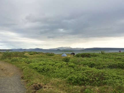 Our little grey tent sits in Thingvellir National Park. There were only five tents in this area on this night.