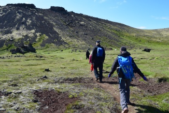 Our group starts the hike (walk) up Hregnassi.