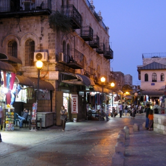 The Old City at night.