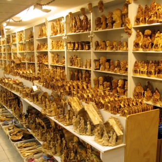 Olive wood souvenirs being sold in an Arab Christian co-op.
