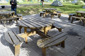The eating areas are equipped with these wonderful picnic tables as well as regular tables in the main area, a kitchen and outdoor charcoal BBQ's.