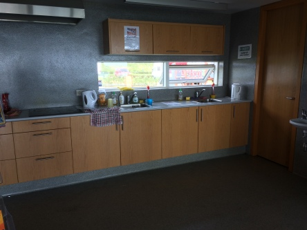 Part of the kitchen facilities in Grindavik.