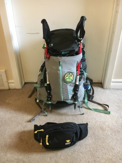A pack that weighs in at 20lbs and a waist pack. I decided not to take the trekking poles.