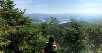 This lookout is to the right of the trail as you are heading towards the summit. It is mere seconds away from the treed summit.