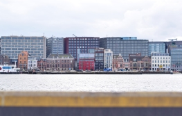 The view of Central Amsterdam from the ferry.