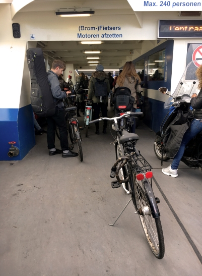 The ferries are used by pedestrians and cyclists.