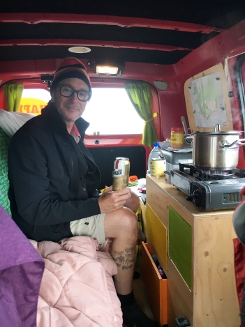 It was a cozy space for two people when cooking, so I sat up front until it was dinner time. Due to the weather, we spent a lot of time in the van.